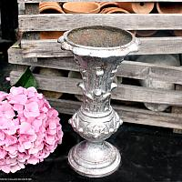 19th Century Antique French Cast Iron Floral Vase