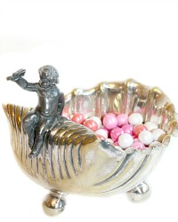 Antique Shabby Silver Plate Bonbon Candy Dish with Cherub