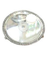 Antique Silver Plate English Footed Monogram Salver Tray