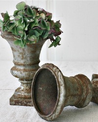 19th Century French Cast Iron Garden Plant Urn Pair