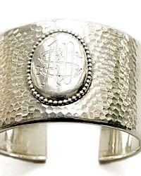Art Deco Silver Monogrammed Cuff Bracelet