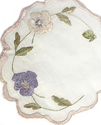 Antique Society Silk Pansies Hand Embroidered Doily