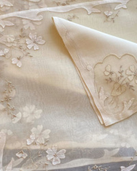 Garden Flowers Vintage Madeira Organdy Placemat 25 pc. Setting for 12