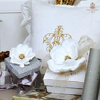 Southern White Magnolia Flower with Clips Set of 4