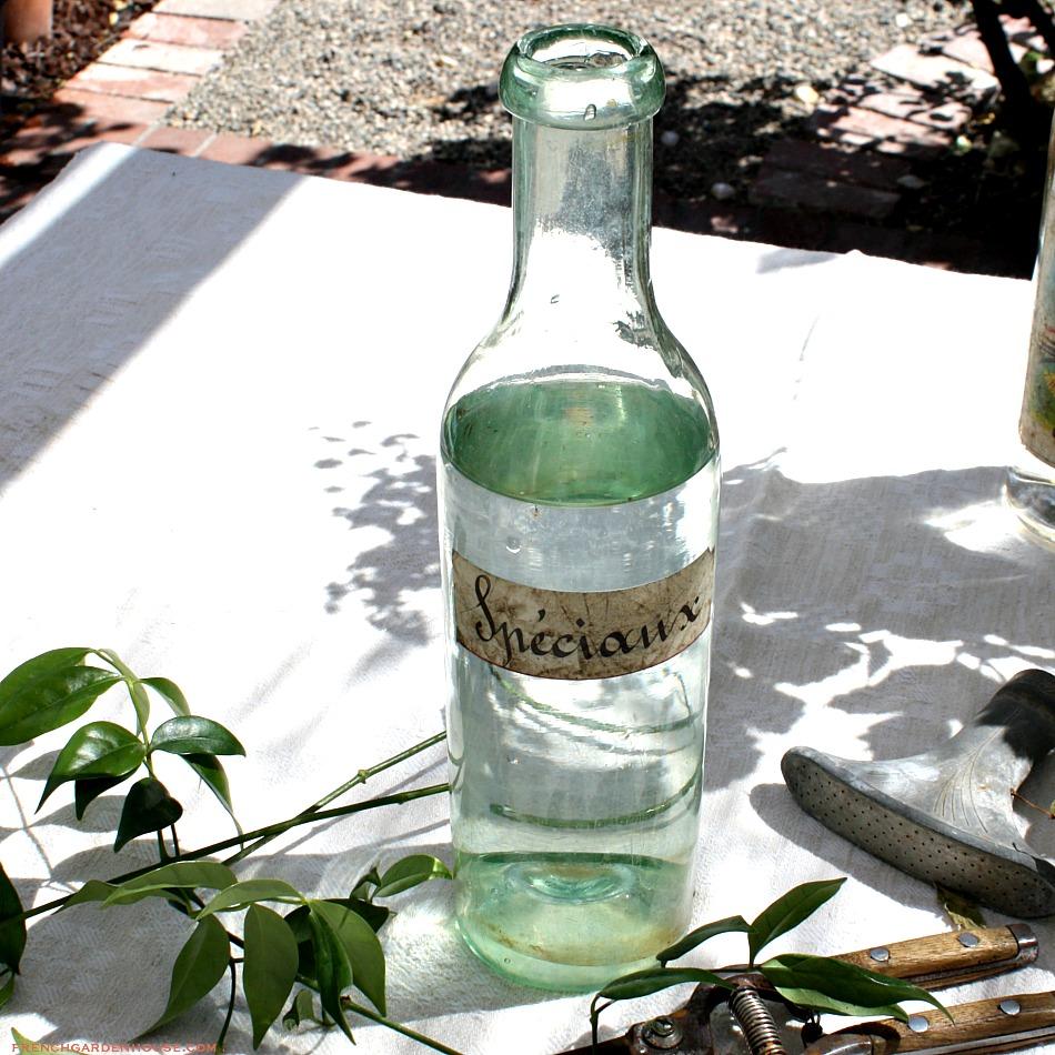 Antique French Glass Wine Bottle Speciaux Paper Label