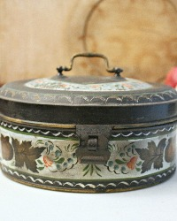 Antique Hand Painted Toleware Spice Tin Box