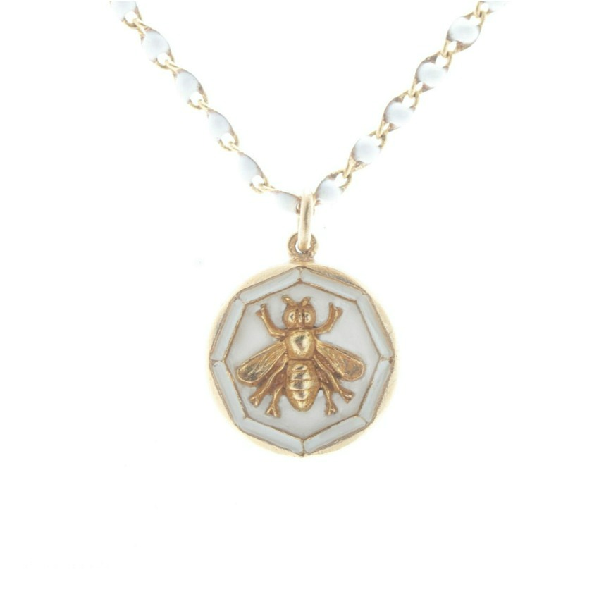 French Royal Bee Necklace with White Enamel