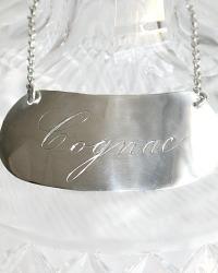 Estate Sterling Silver Cognac Decanter Label