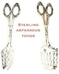 Ornate Sterling Silver Asparagus Tongs