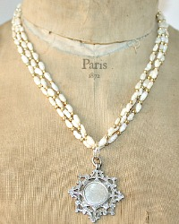 Antique English Sterling Silver Award Watch Fob Necklace with Freshwater Pearls