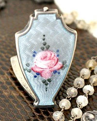 Antique Rose Guilloche Enamel Sterling Locket Necklace