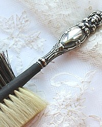Antique Sterling Repousse Portrait Ebonized Millinery Brush J