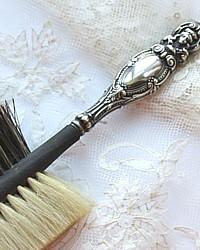 Antique Victorian Sterling Repousse Portrait Ebonized Millinery Hat Brush