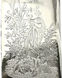 19th Century Victorian Sterling Silver Necessaire Lady's Wallet Portrait Garden