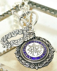 Antique English Sterling Charm Award Fob Necklace