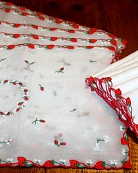 Vintage Marghab Strawberry Placemat & Napkin Madeira Embroidery Organdy Linen Set for 6