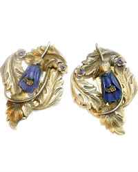 1920's Dress Clip Blue Floral Set of 2