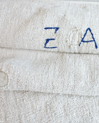 Antique Early French Homespun Linen Harvest Sack  Z A