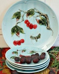 Antique Aqua Cherries and Butterflies Majolica Plate and Platter Set