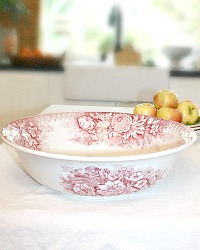 Antique French Country Ironstone Bowl with Red Flowers