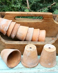 Antique French Greenhouse Seedling Pot Set of 3
