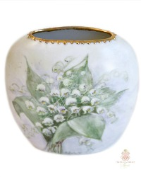Antique Hand Painted Enameled Porcelain Vase Muguet de Bois