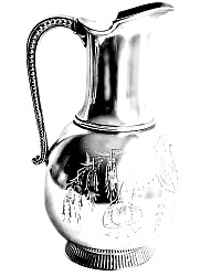 Antique Silver Floral Pitcher Fuchsia