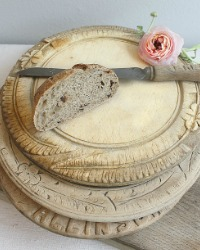 19th Century Hand Carved Round Bread Board Ferns