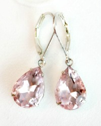 Ballet Rose Pink Rhinestone Earrings
