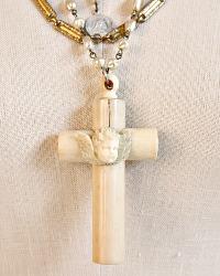 Antique French Croix de Berceau Cherub Necklace