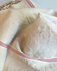 Antique French Natural Linen Towel Red 4 Stripe
