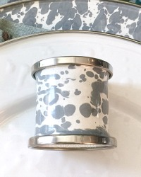 French Country Grey Porcelain Enamelware Napkin Rings Set of 4