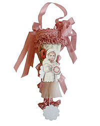 Parisian Atelier Tussie Mussie Cone Candy Container Rose Girl