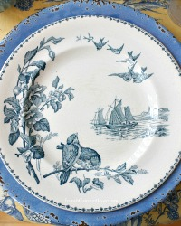 Antique French Aesthetic Birds Plates Set of 8