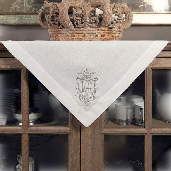 European Luxury Linen Royal Crest Embroidered Table Topper