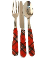 Luxury French Tartan Red Flatware Placesetting