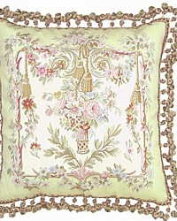 Aubusson Silk Soft Green Floral Basket Pillow