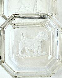 1920's Art Deco Intaglio Salt Heinrich Hoffman Sealyham Cesky Terrier Set of 2