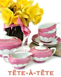 Antique Victoria Pink Lustreware Tete a Tete Porcelain Tea Set