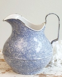 Antique French Blue and White Enamelware Pitcher