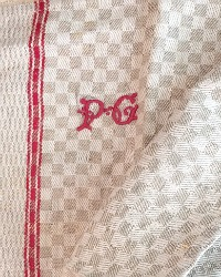 Antique Linen Checked Towel Red Monogram PG
