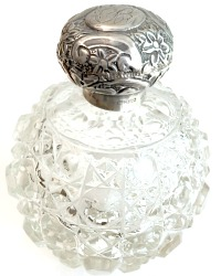 Antique Sterling Silver & Crystal Perfume Scent Bottle