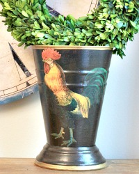 NEW! Limited Edition French Country Cachepot Coq Gaulois Noir