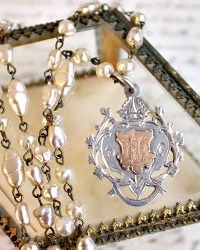 Antique Heirloom Sterling Silver and Gold Watch Fob Necklace