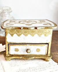 Vintage Florentine Gold and Cream Jewelry Box
