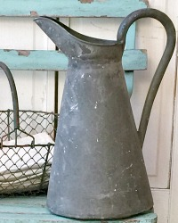 Antique French Country Zinc Water Pitcher