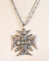 Maltese Cross Pendant Necklace Grey Pearl
