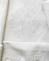 Antique French Heirloom Bridal Trousseau Fancy Monogram Pillow Shams M I G