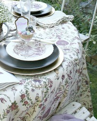 French Jules Verne Plum Purple Tablecloth 90 Round