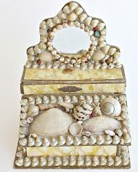 Antique Estate Shell Art Miniature Mirrored Dresser Box